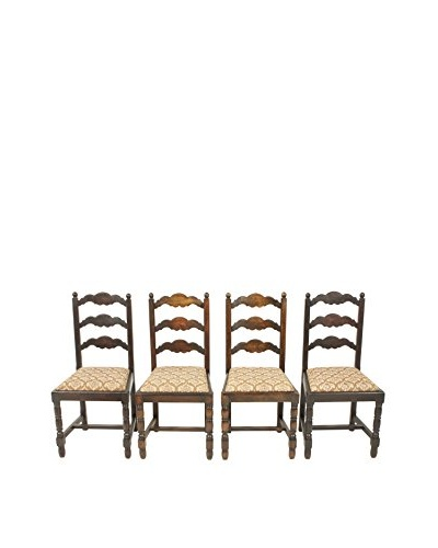 Set of 4 Breton Oak Chairs, Brown/Tan/Red/Green