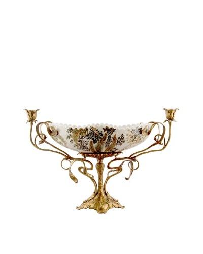 Handpainted Moss Fern Centerpiece with Bronze Base