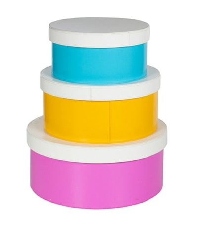 Set of 3 Colorful Round Storage Boxes, Blue, Yellow, Pink
