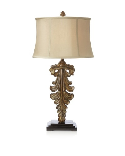 Oak Scroll Table Lamp