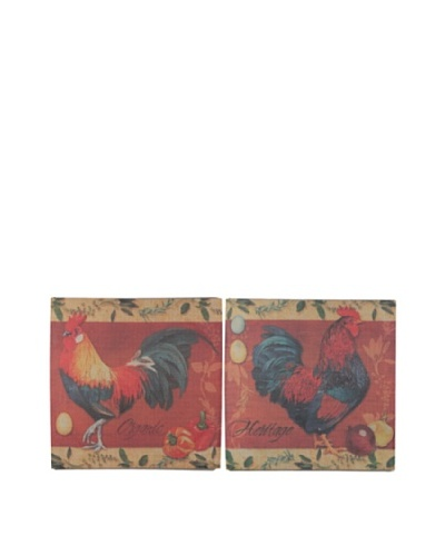 Set of 2 Burlap Rooster