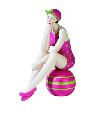 Large Resin Beach Beauty in Bright Pink Swimsuit with Green Dots on Striped Ball