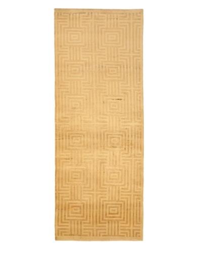 Hand-knotted Himalayan Modern Runner Wool Rug, Cream, 4' 4 x 11' 8 Runner