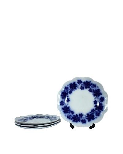 Set of 4 Flow Blue Vinranka Lunch Plates, Blue/White