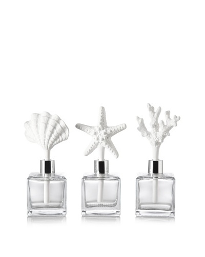 Set of 3 Pacifique Porcelain Fragrance Diffusers, Clear/White