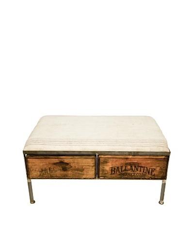 Miller Two-Drawer Repurposed Crate Storage Bench