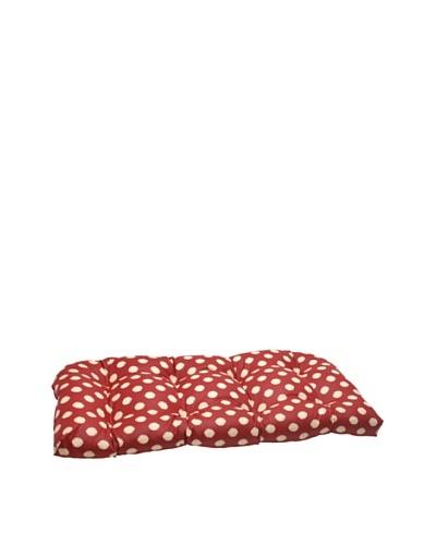 Waverly Sun-n-Shade Solar Spot Henna Wicker Loveseat Cushion [Red/Tan]