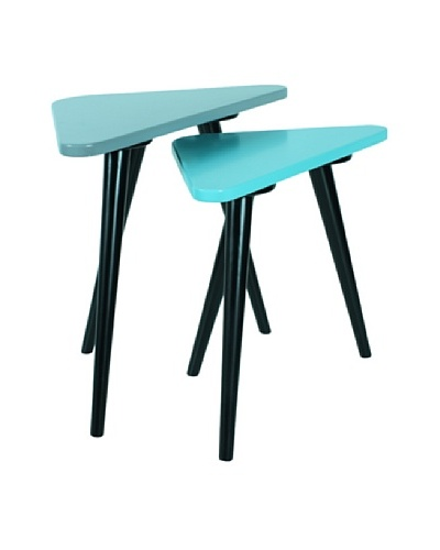 Large Teapoy Grey Table with Shiny Black legs, Turquoise