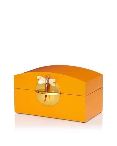 Lacquer Box With Horn Dragonfly Key & Round Gold Lock, Orange