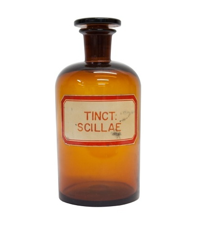 "Vintage Apothecary Bottle ""Tinct. Scillae"" c1940s, Glass/Amber"