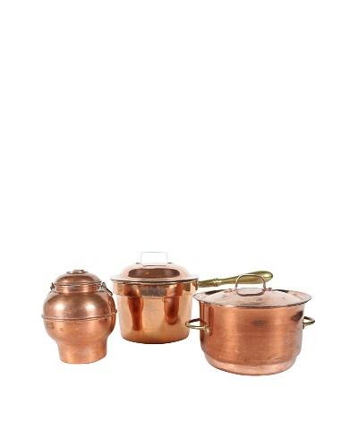Set of 3 Copper Pots with Lids, Metallic