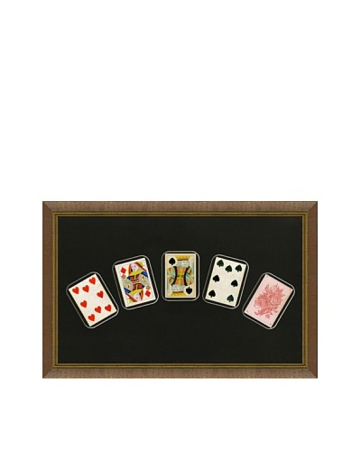 Framed Set of 5 Antique Playing Cards