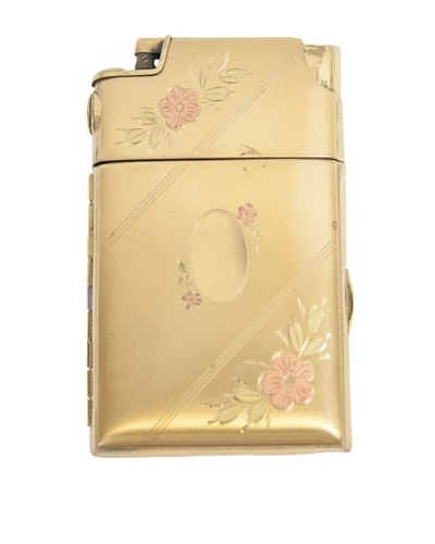 Brass Lighter with Floral Enamel Design