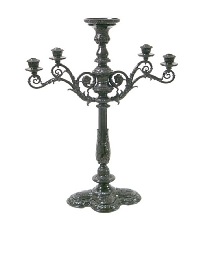 Large Baroque Style 4-Branch Candelabrum with Flower Pot on Center Top