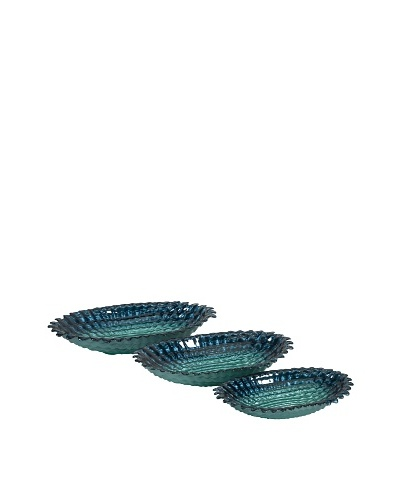 Set Of 3 Arena Glass Bowls, Ocean BlueAs You See