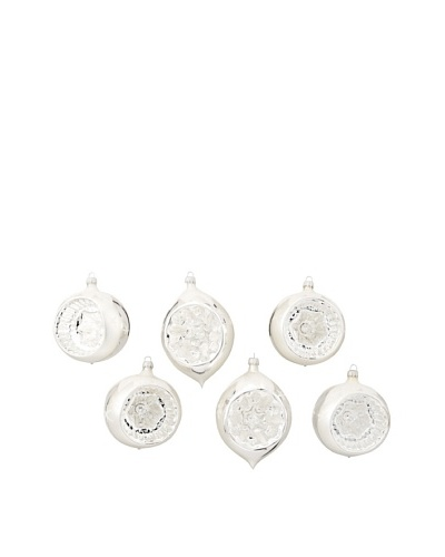 Set of 6 Traditionally Mouthblown & Handpainted Large Glass Reflectors, Silver/White