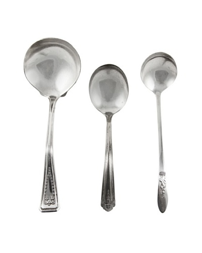 Set of 3 Vintage Silver-Plated Multi-Patterned Soup Spoons, c.1940s