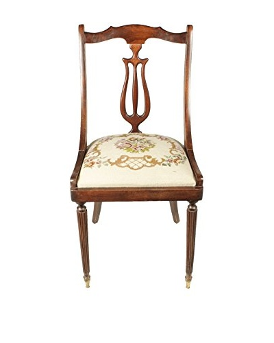 English Needlepoint Chair, Brown/Tan/Green/Red
