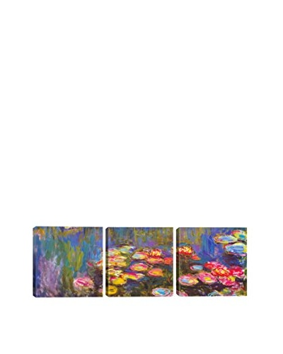 Claude Monet Water Lilies (Panoramic) 3-Piece Canvas Print
