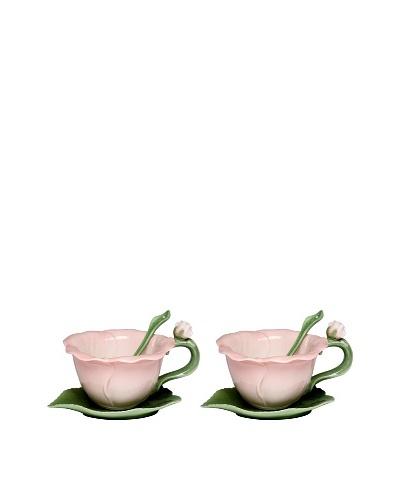 Porcelain Hibiscus 6-Piece Cup & Saucer Set, Pink