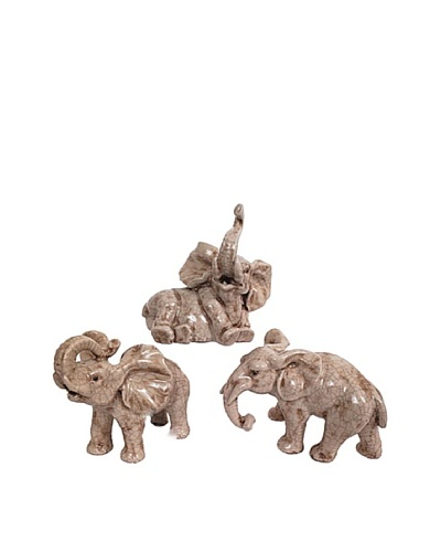 Set of 3 Little Elephants Figurines, Tan
