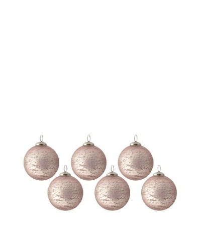 Set of 6 Rustic Glass Ball Ornaments