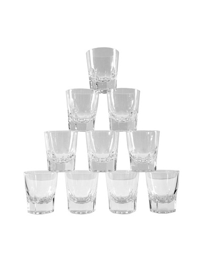 Set of 10 French Scotch Glasses, Clear