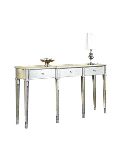 Florentine 3-Drawer Table, Silver Leaf/Antique Mirror