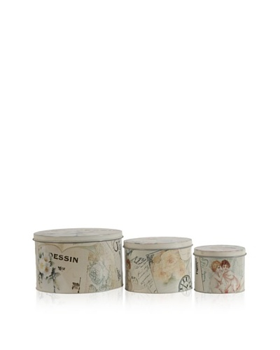 Set Of 3 Decorative Tins [Multi]