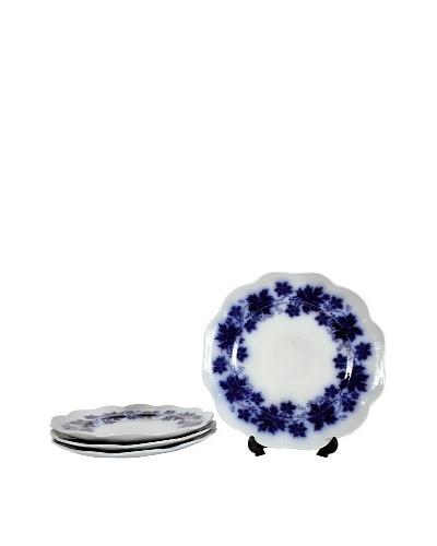 Set of 4 Flow Blue Vinranka Lunch Plates