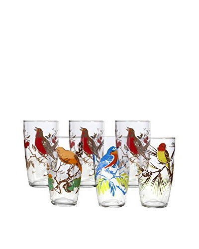 Set of 6 1960s Bird Glasses