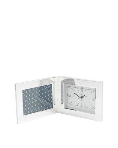 Silver-Plated Alarm Clock with 3.5x5 Picture Frame