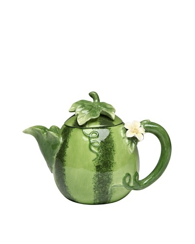 Ceramic Hand-Made Watermelon Teapot, Green