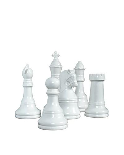 Set of 6 Ceramic Chess Game Pieces