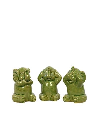 Set of 3 Assorted Ceramic Elephants, Green