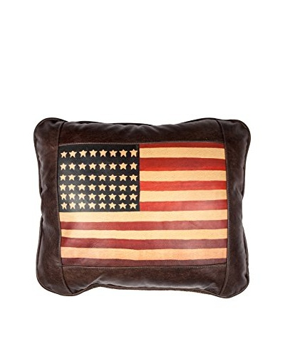 American Flag Leather Pillow, Chocolate