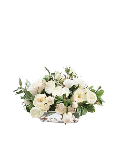 Rose in Glass Vase, White 7.5''
