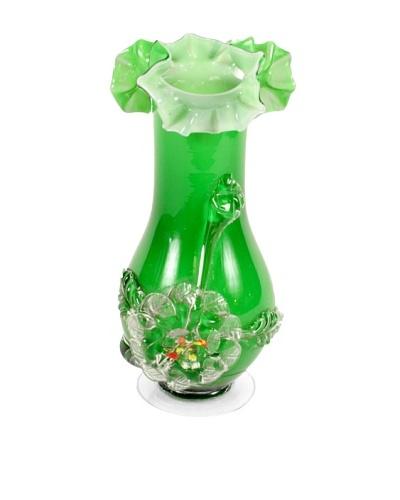 1960's Art Glass Vase, Green/White/Clear
