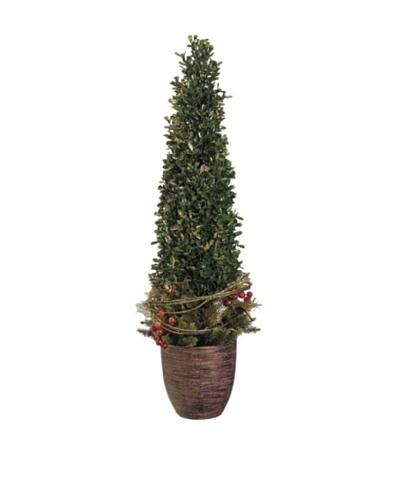 24 Glittered Boxwood, Pine & Berry Topiary