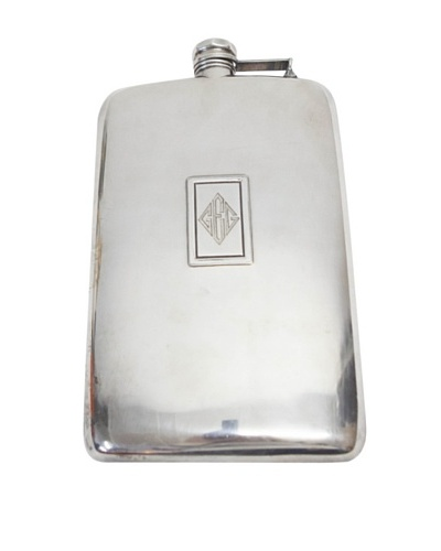 Vintage Circa 1920 Flask with Rectangle Design & Attached Top