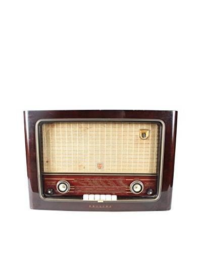 Phillips Mid Century International Radio, Brown/Gold/Cream