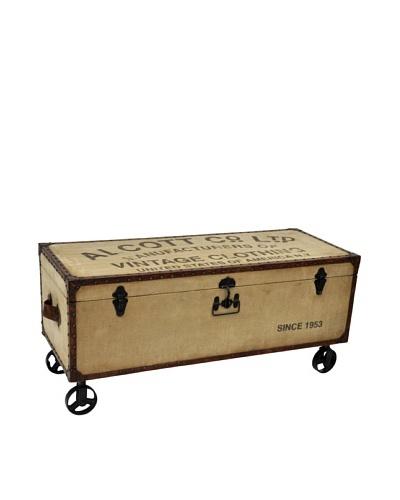 Alcott Steamer Trunk Storage Table, Tan/Brown/Black