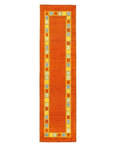 Hand-Knotted Gabbeh Modern Rug, Dark Copper, 2' 4 x 8' 1 Runner