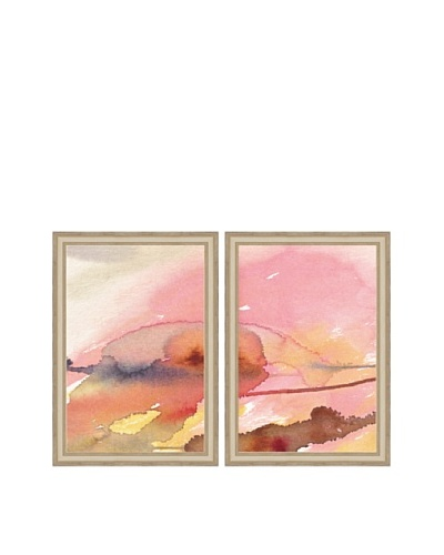 Pink Watercolor Abstract Diptych Framed Giclée Print