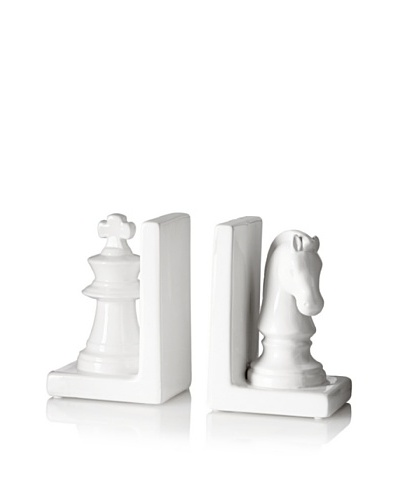 Ceramic Chess Piece Bookends, White