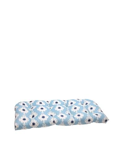 Waverly Sun-n-Shade Rise and Shine Pool Wicker Loveseat Cushion [Navy/Aqua/Cream]