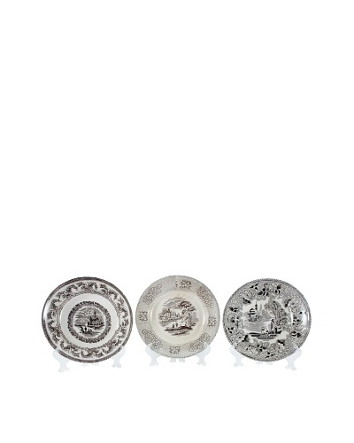 Set of 3 19th C. English Transferware Plates