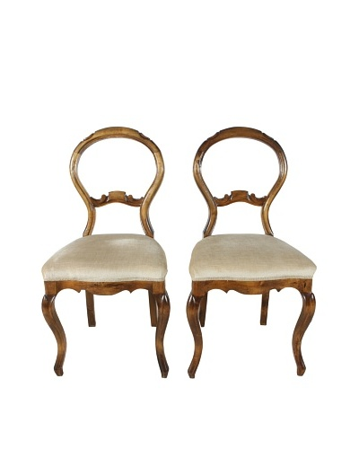 Set of French Walnut Balloon Back Chairs, Brown/Beige