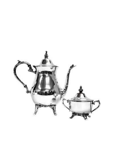 Vintage Coffee/Tea Pot & Covered Sugar Bowl Made By Silver Plate Co., c.1950s