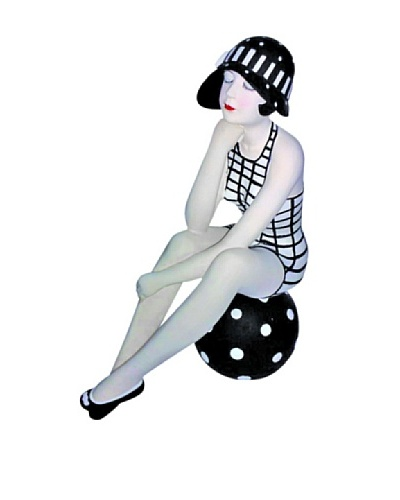 Large Resin Beach Beauty in Black and White Check Swimsuit on Polka Dot Ball